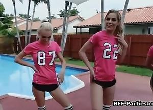 Teen soccer chicks twerking on load of shit