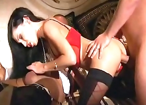 Sexy brunette in titillating lingerie Mya Diamond acquires her cunt fucked while she sucks a load of shit