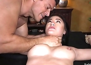 Gradual Oriental anal drilled in bondage