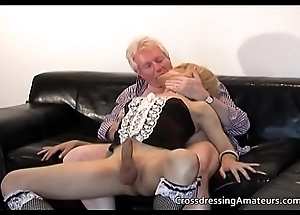 Blonde sissy has amusement with a Grandpa