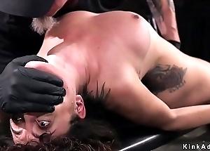 Brunette in brutal hogtie pussy vibrated