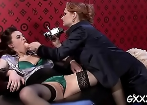 Gorgeous lesbian engages in some erotic giving a kiss together with fake penis conduct oneself