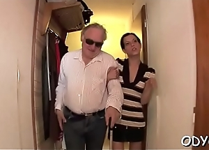Horny young neonate gives an old stud nice blow job and copulates