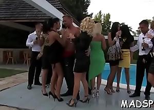 Captivating sluts enjoy a monster cock feast at a copulation troop