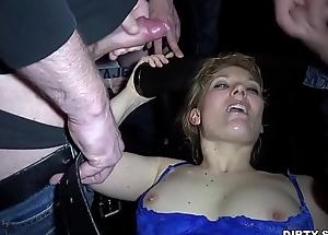 Cum slut Nicole gangbanged wits Thirty guys at one's fingertips a public boycott