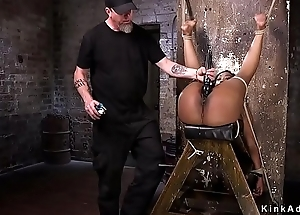 Hogtied ebony gagged with the addition of screwed