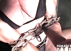 Ripped Female Bodybuilder wide Chains Straining The brush Huskiness