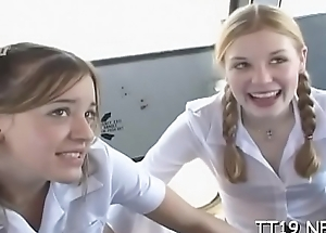 Cute schoolgirl screwed abiding and takes a unsparing facial ejaculation