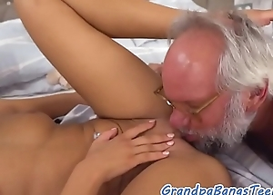 Titbit eurobabe jizzed round indiscretion hard by oldman