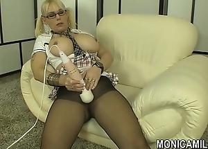 norwegian monicamilf back a nylon panty hose scene norsk