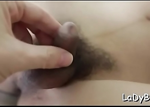 Ladyman grumble receives her dick false increased by mouth fucked