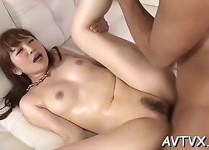 Stud is receving an amatory oral-service distance from cute oriental