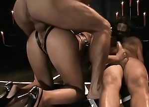 Horny S&m slut Sarah James object 3 cocks to ravage the brush cunt together with nuisance in FMMM DP action