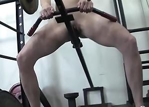 Redhead Womanlike Bodybuilder Masturbates on touching Gym Equipment