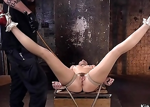 Muted pussy belle round hogtie gets caned