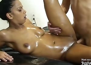 Hot Oiled Ebony Floosie Drilled Hard Creampie POV - jigglychat.ga