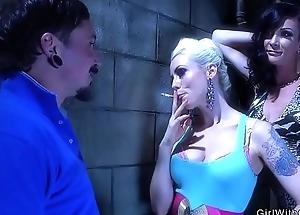 Tranny and blonde dominates tattooed baffle